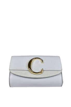 Chloé C light blue belt bag in suede and leather.