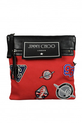 Jimmy Choo messenger bag in red canvas.