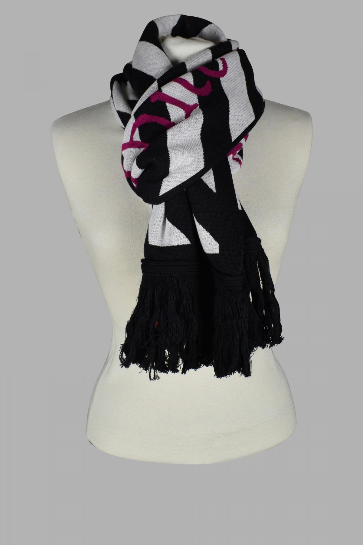 Off-White Arrows black scarf with white diagonal stripes.