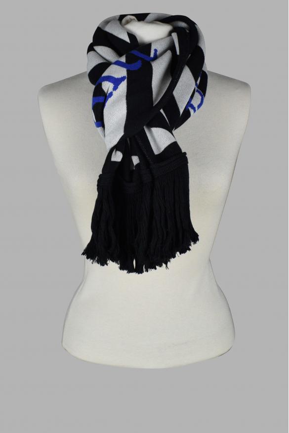 Off White Diagonals black scarf with white stripes.