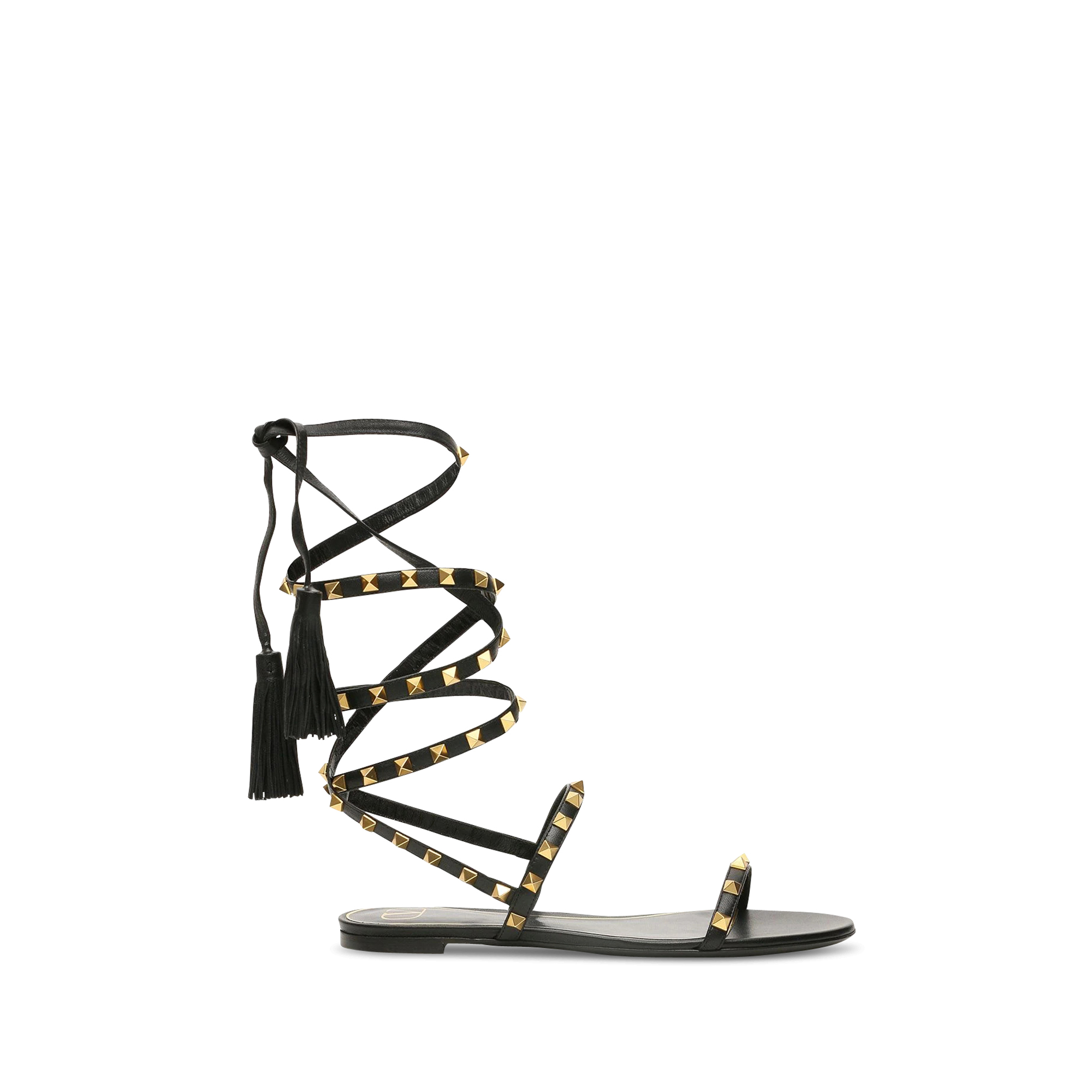 Valentino Garavani sandals in black leather.