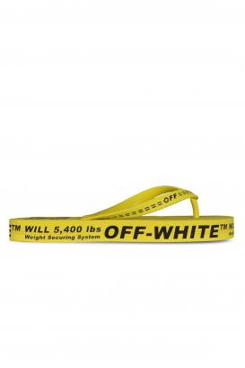 Yellow Off-White flip flops.
