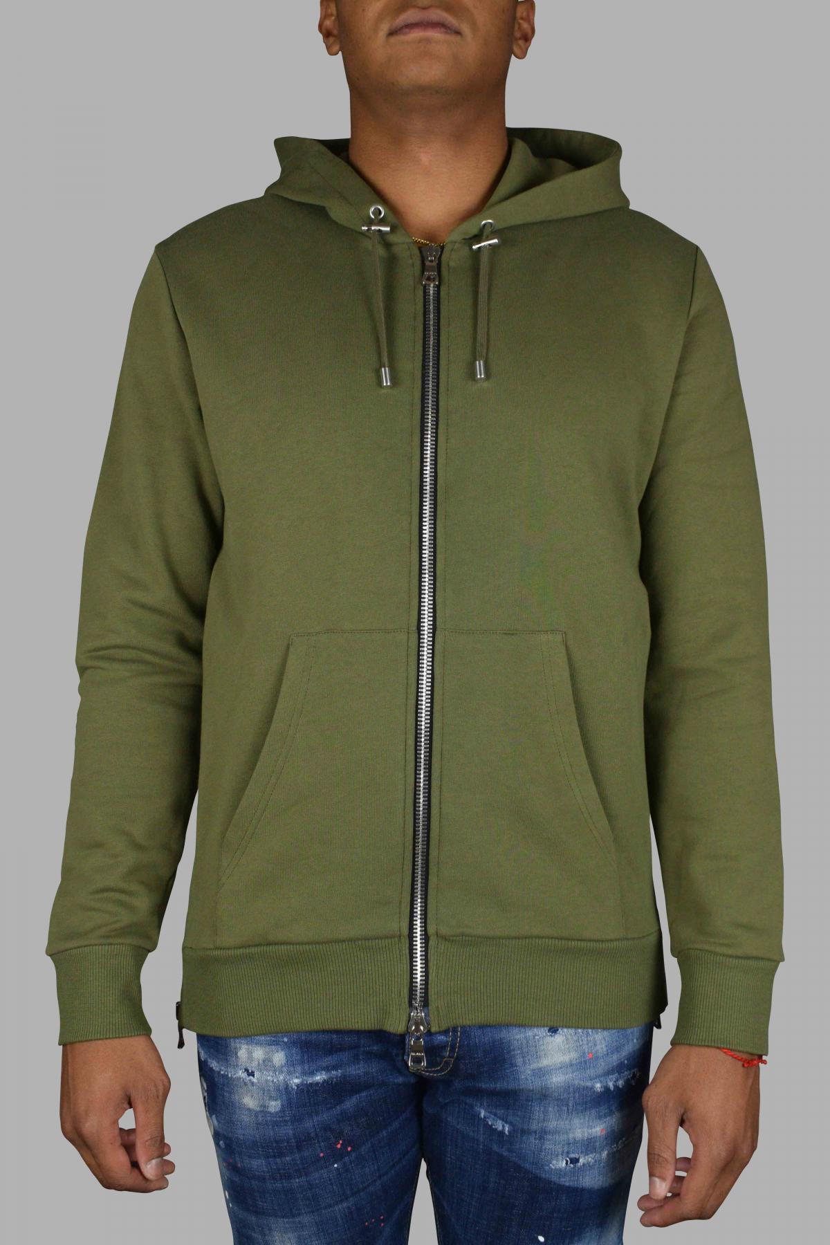 Balmain khaki hooded cardigan.