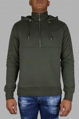 Balmain khaki hooded sweatshirt.