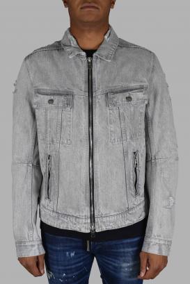 Balmain gray denim jacket with rips.