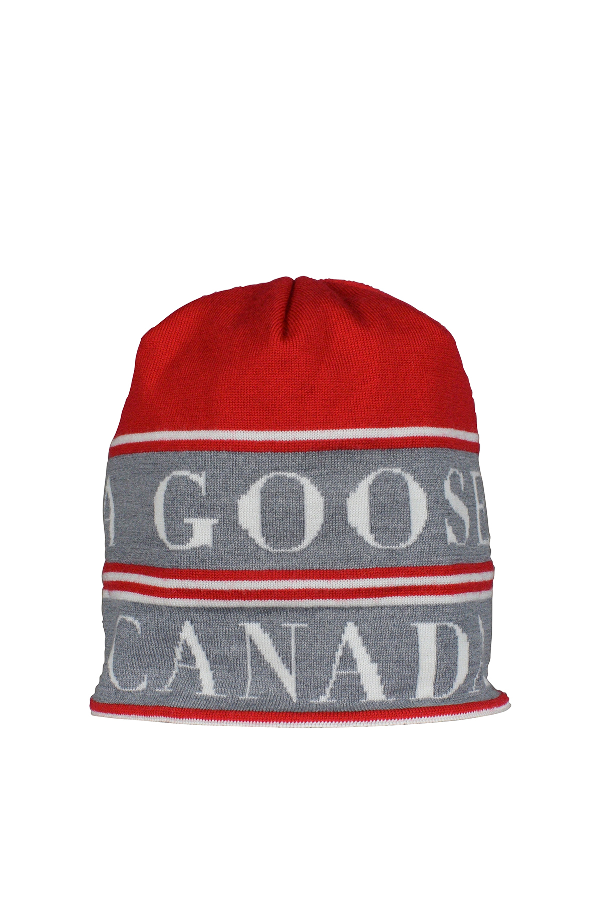 Reversible red and black Canada Goose beanie.