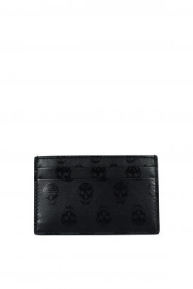 Alexander McQueen black leather card holder.