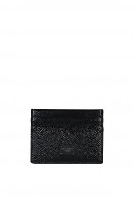 Black Dolce&Gabbana card holder in Dauphine calfskin.