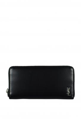 Saint Laurent Tiny Monogram wallet in black leather.