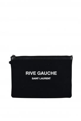 Saint Laurent black cotton and leather clutch.