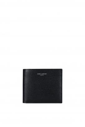 Black grained leather wallet embossed with the Saint Laurent Paris signature.