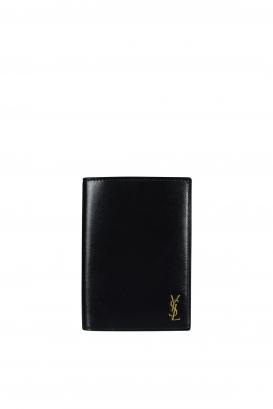 Saint Laurent Tiny Monogram bi-fold wallet in black leather.