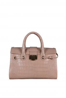 Riley handbag Jimmy Choo in pink crocodile embossed leather.