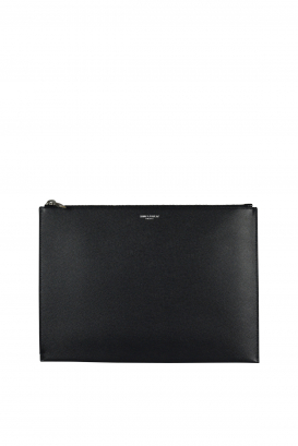 Black zipped tablet case in Saint Laurent embossed grained leather.