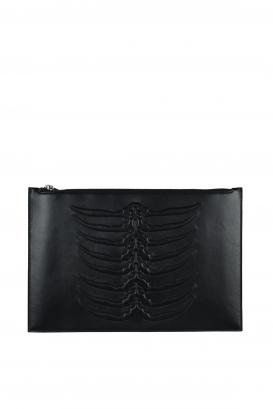 Alexander McQueen black leather clutch.