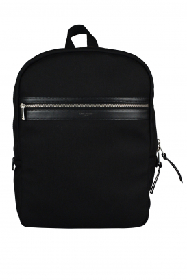Saint Laurent Laptop City black backpack in nylon canvas and leather.