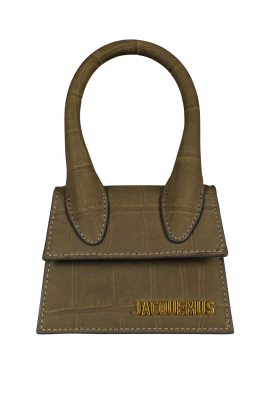 Jacquemus Le Chiquito mini bag in brown suede with crocodile embossing.