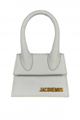 Jacquemus Le Chiquito mini bag in gray suede with crocodile embossing.