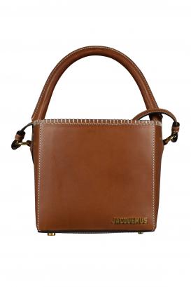 Jacquemus Le Seau Carré bag in brown leather.