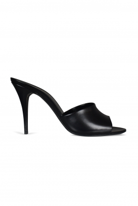 Saint Laurent open-toe mules model 16 in smooth black leather.