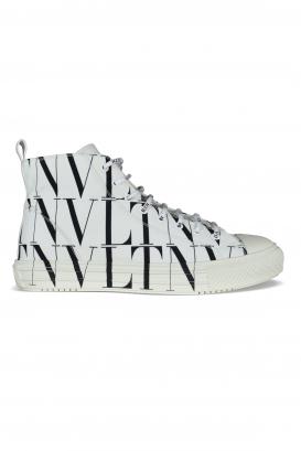 Giggies Valentino Garavani high-top sneakers in white fabric.