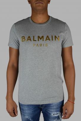 Balmain t-shirt in grey cotton.