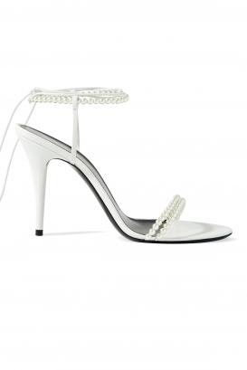 Saint Laurent Luna white leather sandals.