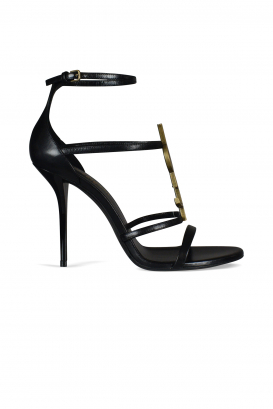 Saint Laurent Cassandra sandals in smooth black leather.