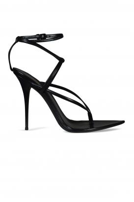 Saint Laurent Instinct 110 sandals in black grained lambskin.