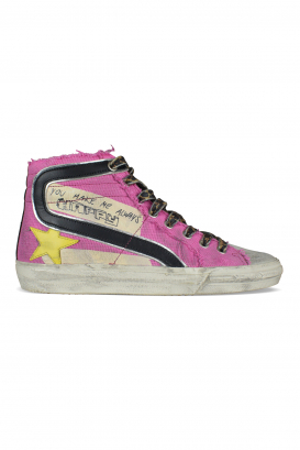 Golden Goose Deluxe Brand Slide pink canvas sneakers.